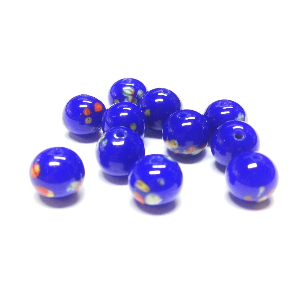 10MM Blue Round Glass Tombo Bead (24 pieces)