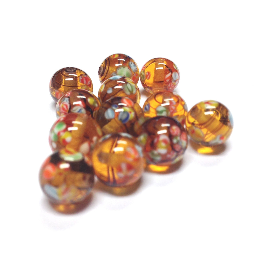 8MM Tortoise Glass Round Tombo Bead (36 pieces)