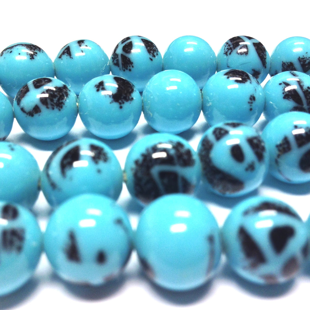 10MM Blue Turquoise Matrix Glass Round Bead (36 pieces)