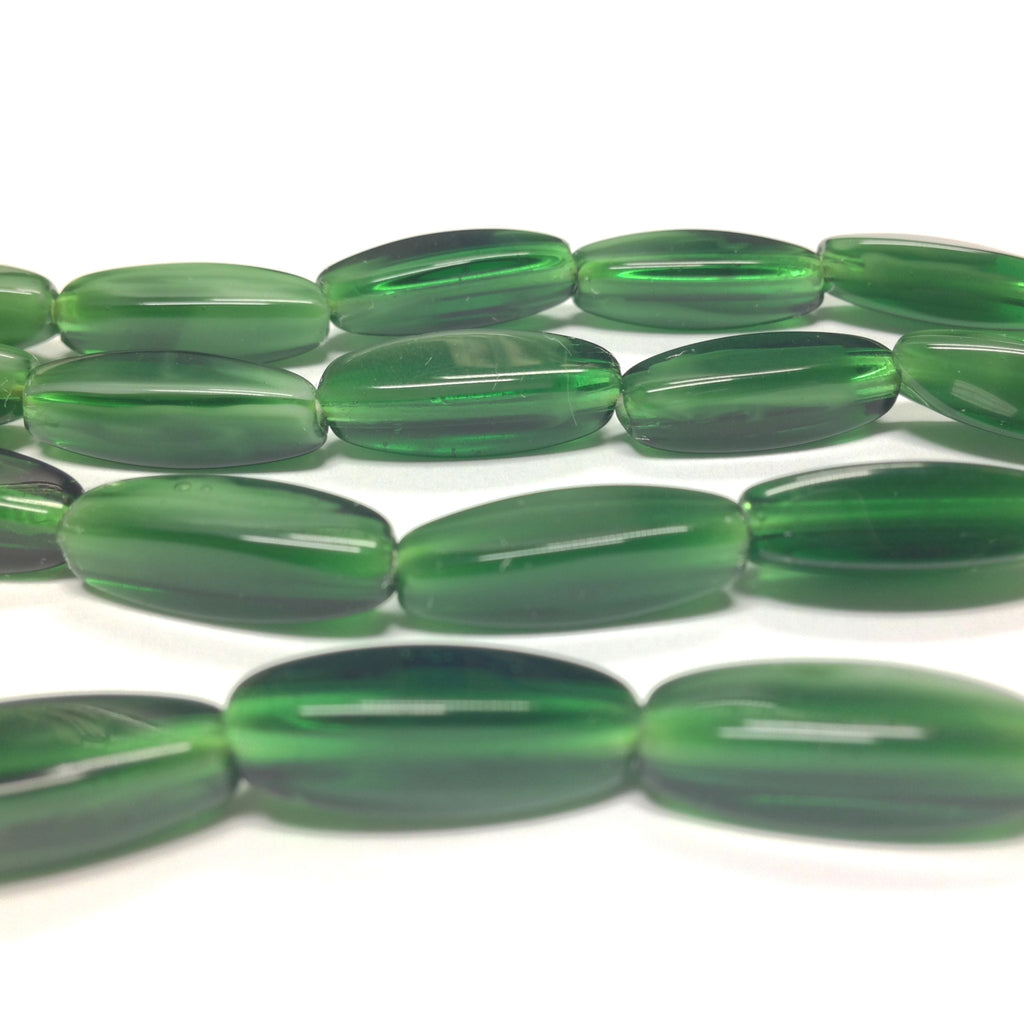 18X7MM Jade Green Oval Glass Bead (36 pieces)
