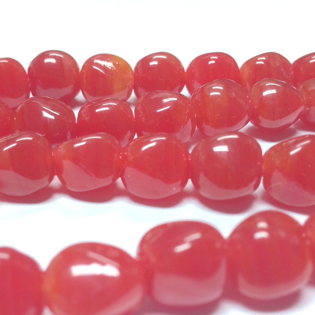 10MM Carnelian Glass Baroque Bead (36 pieces)