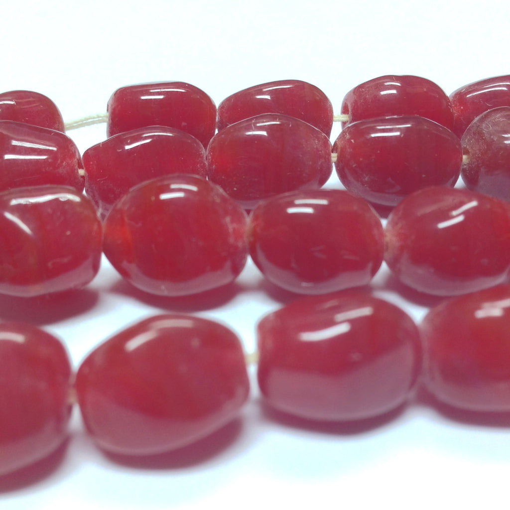 10MM Dark Carnelian Glass Baroque Bead (36 pieces)