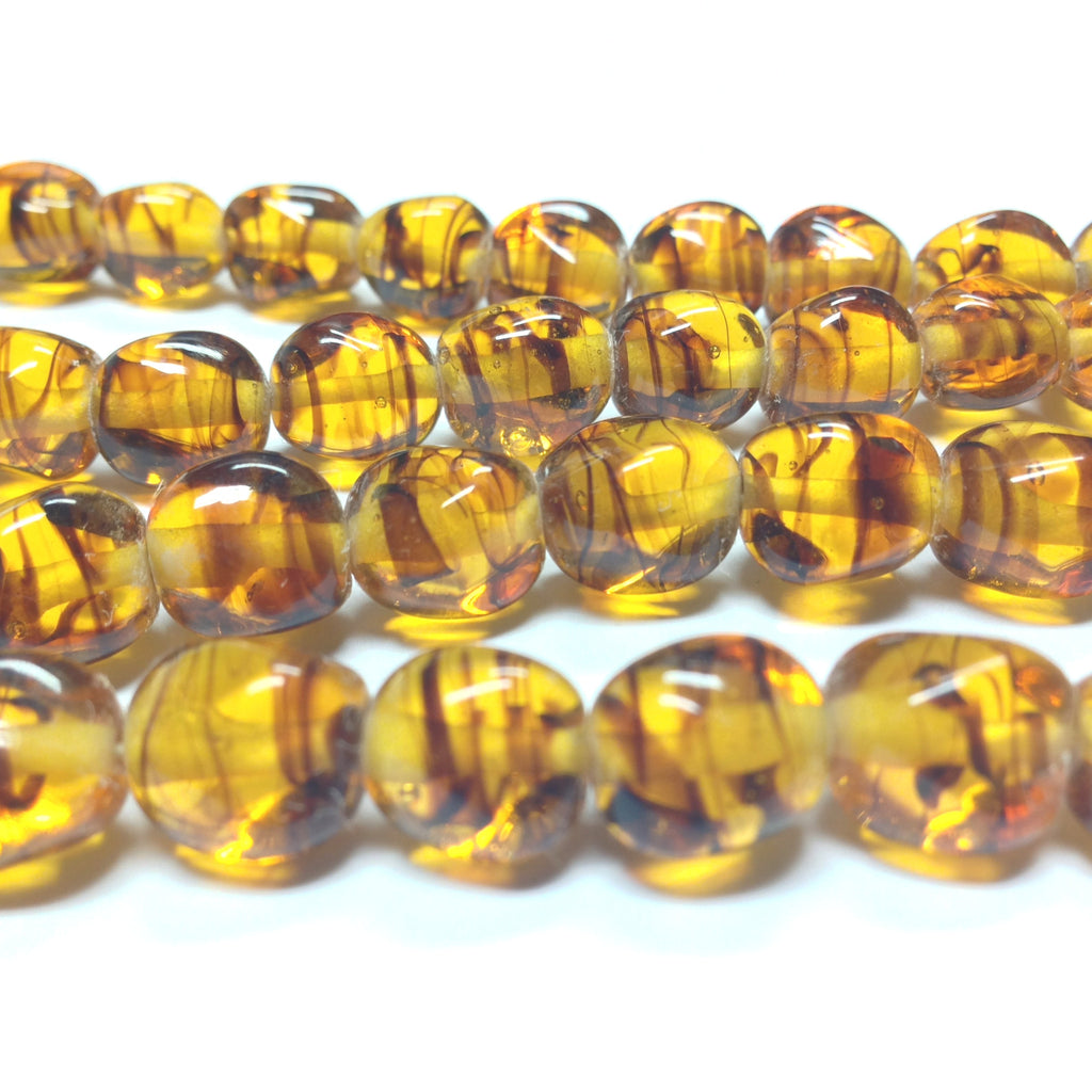 10MM Tortoise Glass Baroque Bead (36 pieces)