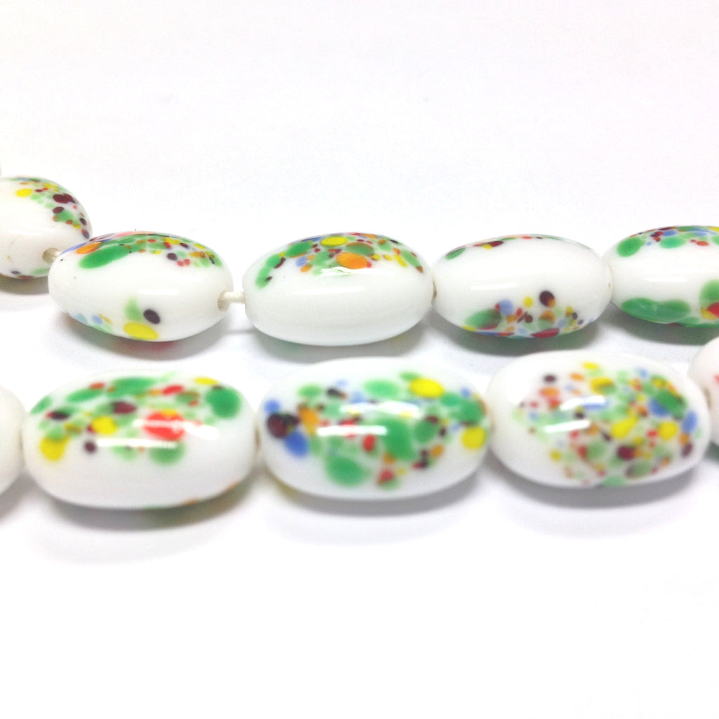 16X12MM Green/White Oval Glass Floral Bead (36 pieces)