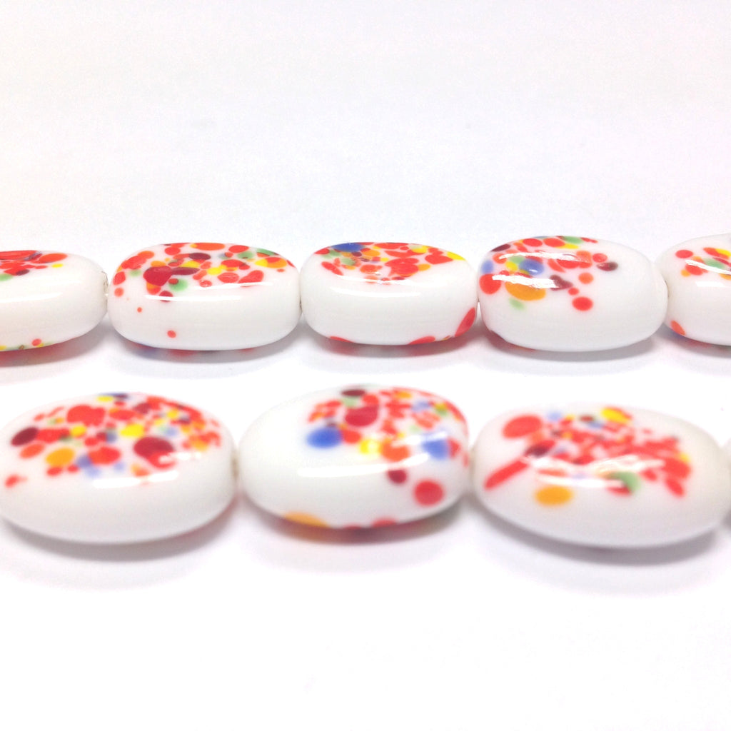 16X12MM Orange/White Oval Glass Floral Bead (36 pieces)