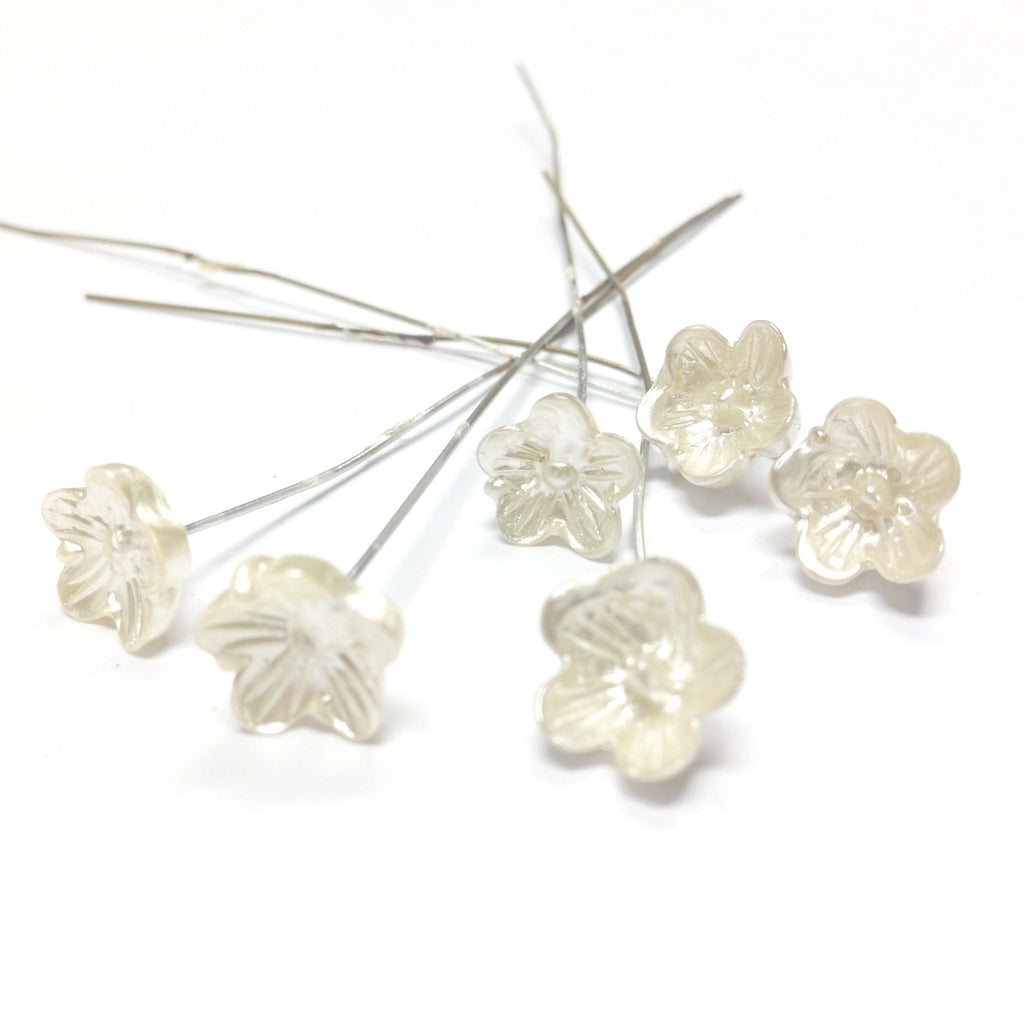 10MM White Pearl Glass Flower On Wire (36 pieces)