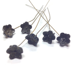 10MM Black Glass Flower On Wire (36 pieces)