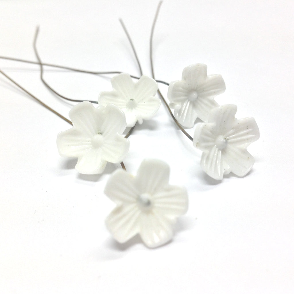 14MM White Glass Flower On Wire (36 pieces)