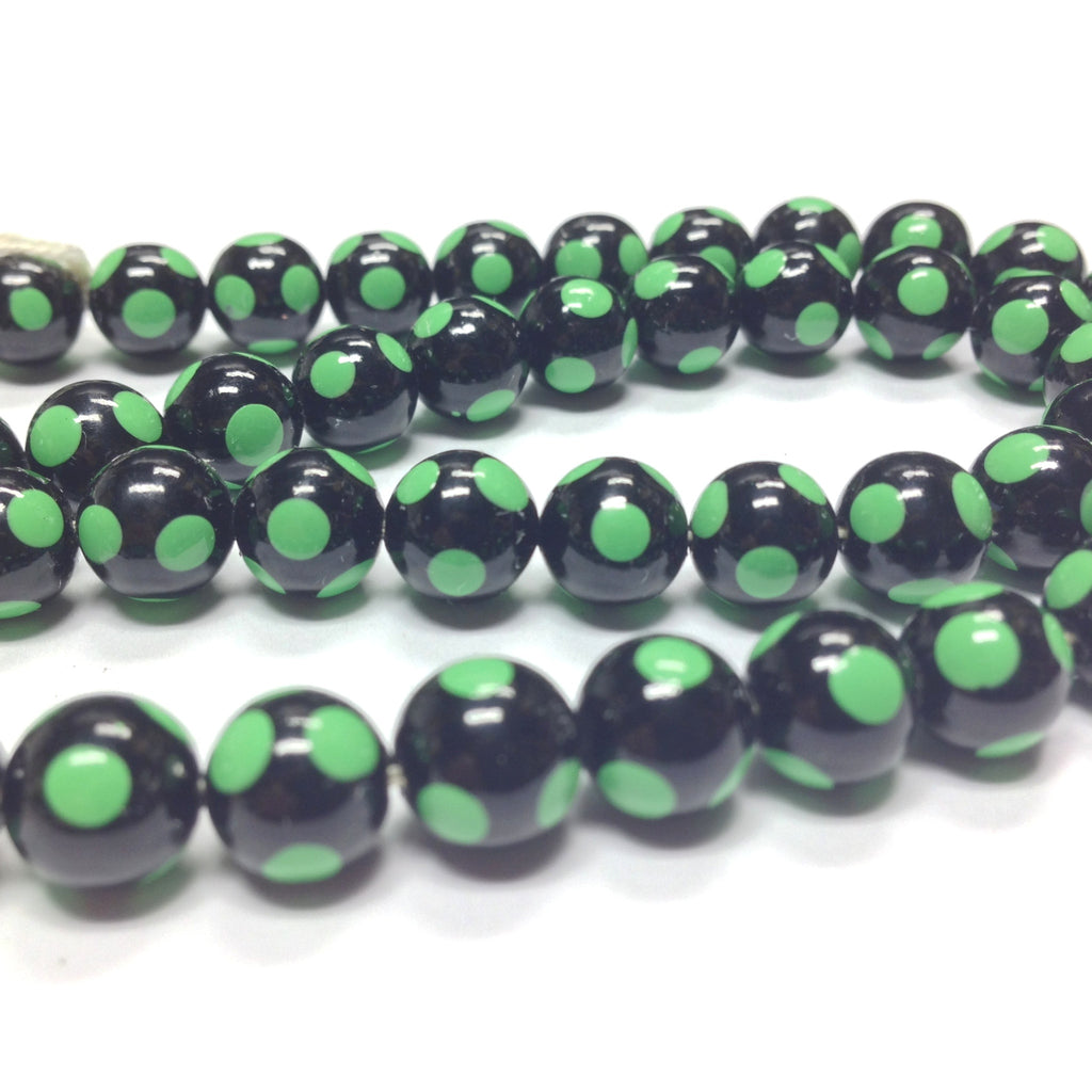 8MM Black Bead With Green Polka Dots (144 pieces)