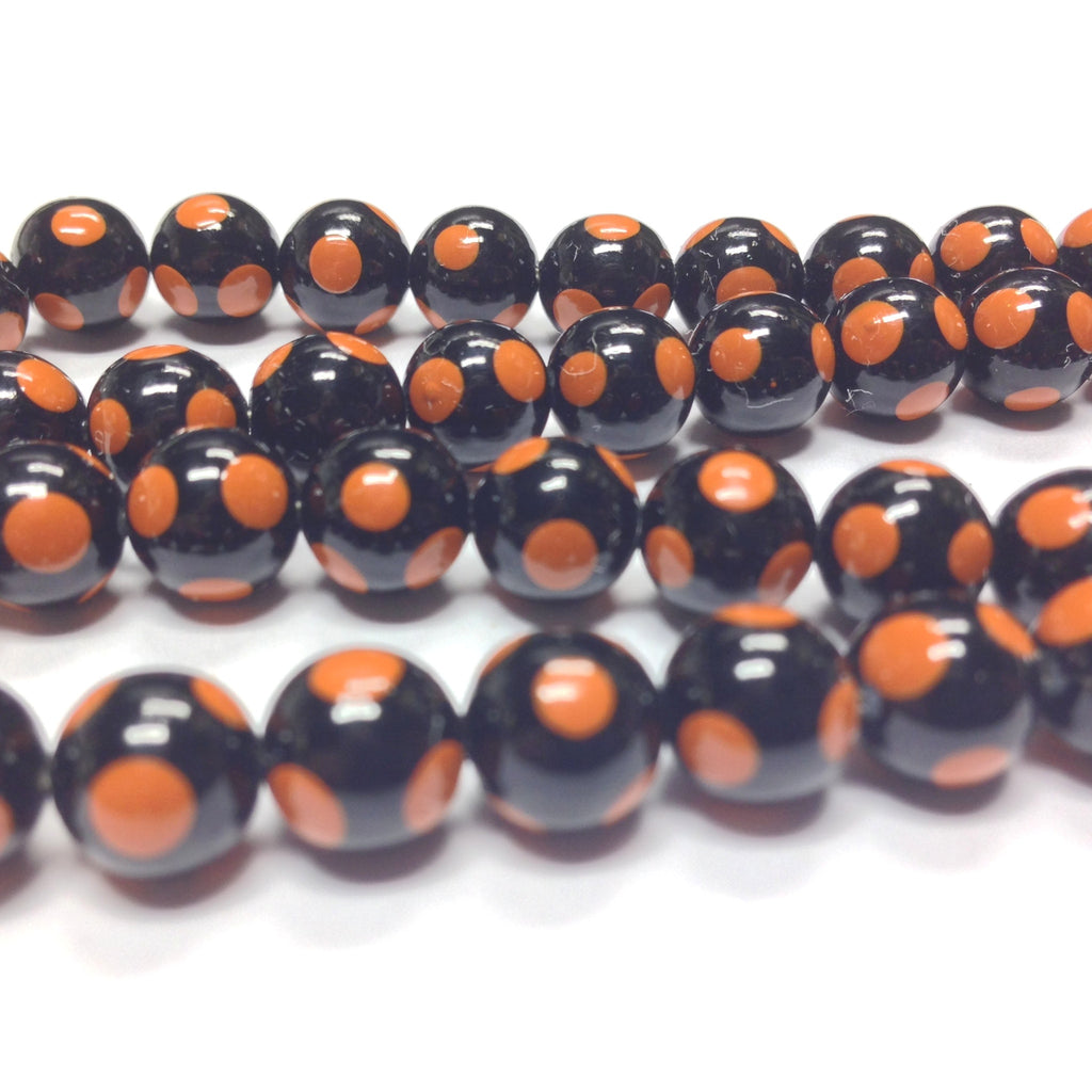 8MM Black Bead With Rust Polka Dots (144 pieces)
