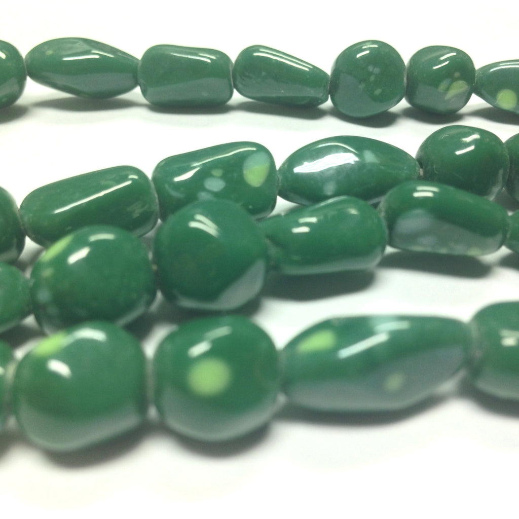"8-10MM Assorted Jade Glass Nuggets 30"" ~63 Pcs/Str (63 pieces)"