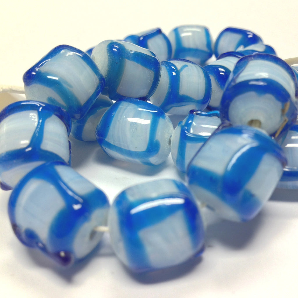 14X12MM Blue On White Opal Glass Barrel Bead (12 pieces)