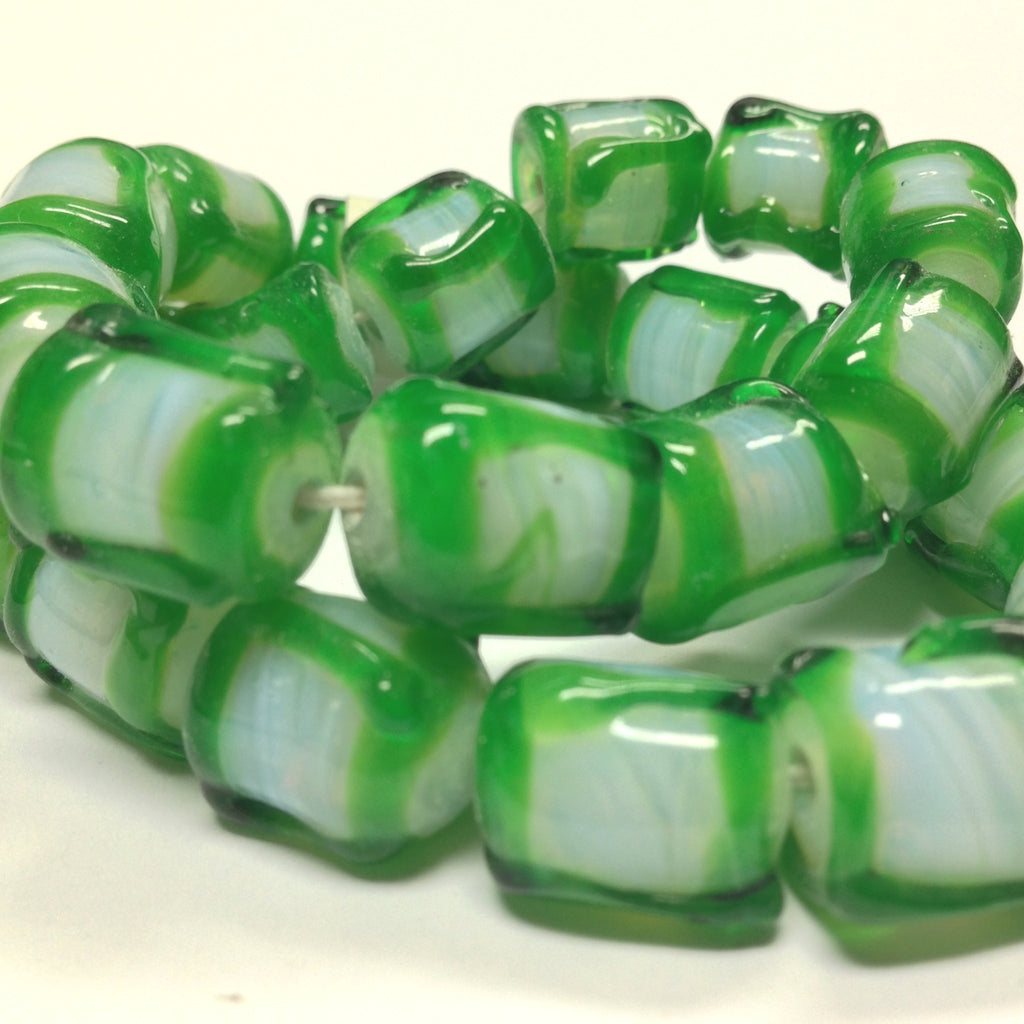 14X12MM Green On White Opal Glass Barrel Bead (12 pieces)