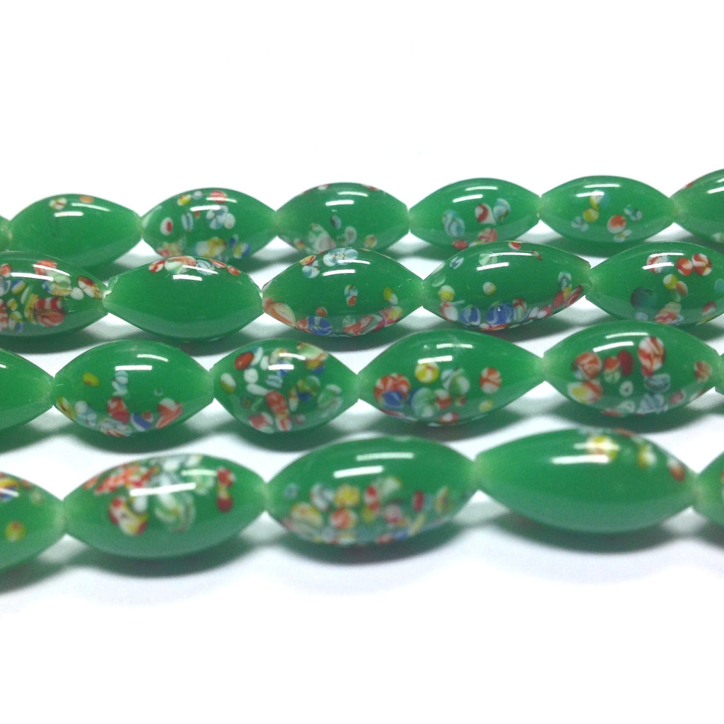 12X6MM Jade Green Tombo Glass Oval Bead (72 pieces)