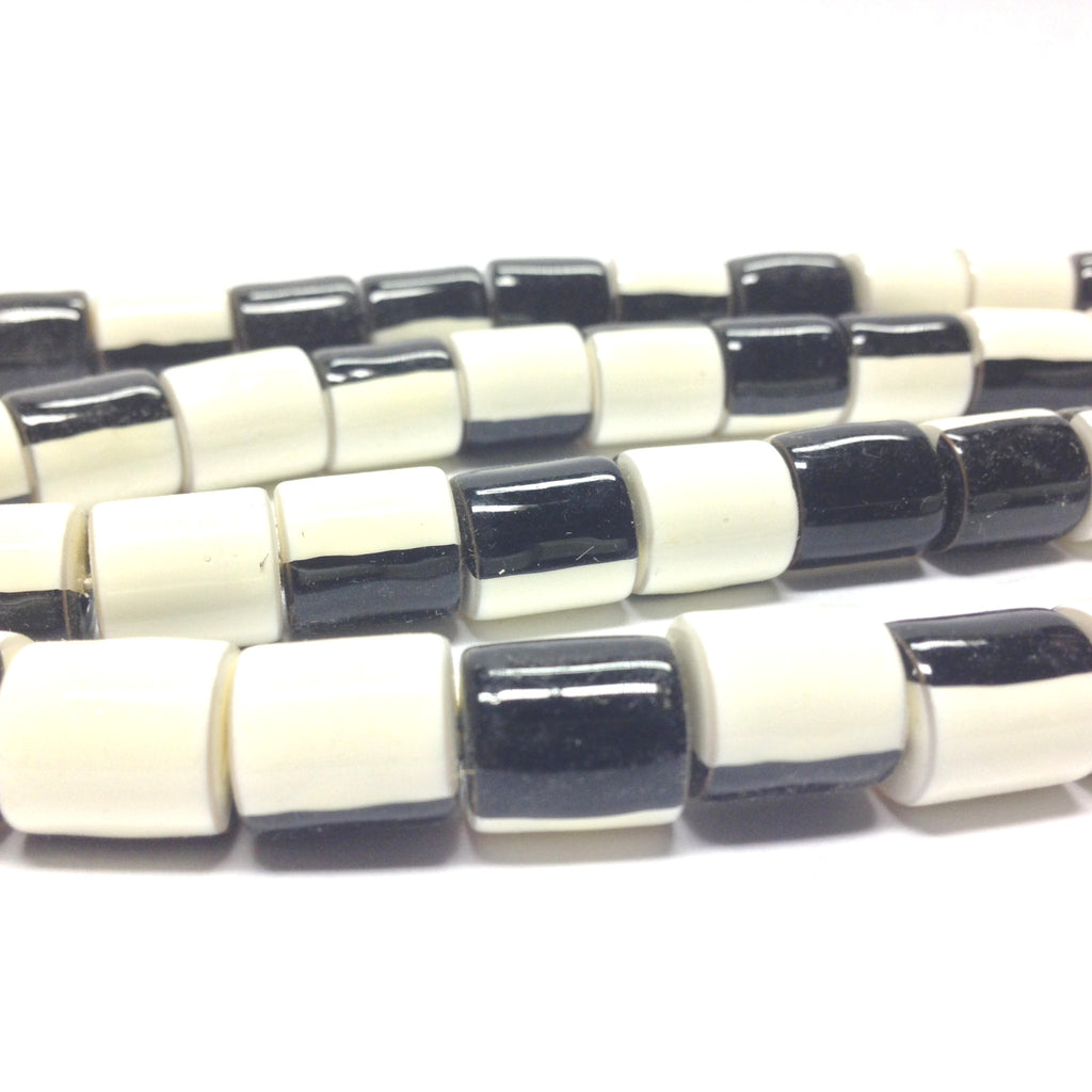 11X10MM Black And White Plastic Tube Bead (72 pieces)