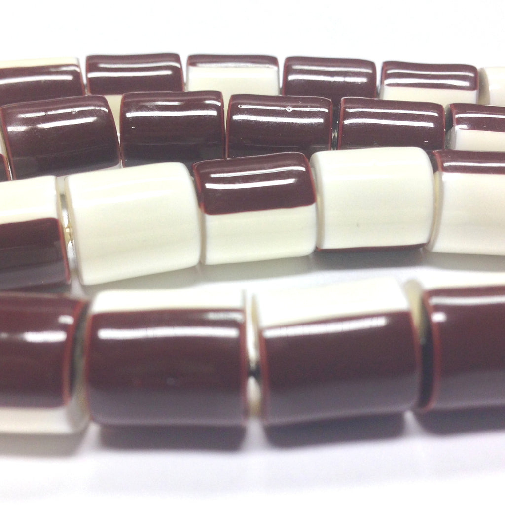 11X10MM Brown And White Plastic Tube Bead (72 pieces)