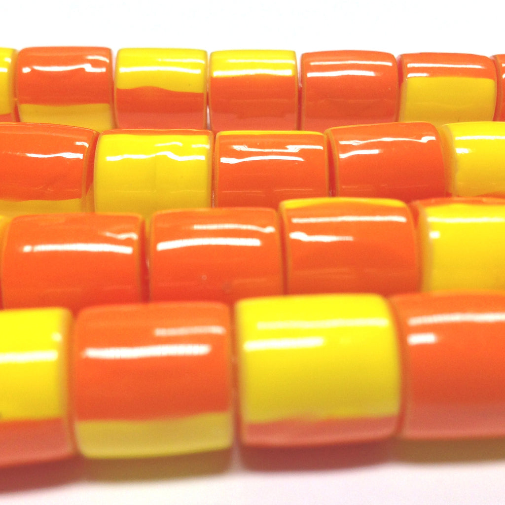 11X10MM Orange And Yellow Plastic Tube Bead (72 pieces)