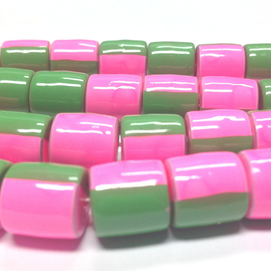7X6MM Pink And Green Plastic Tube Bead (72 pieces)