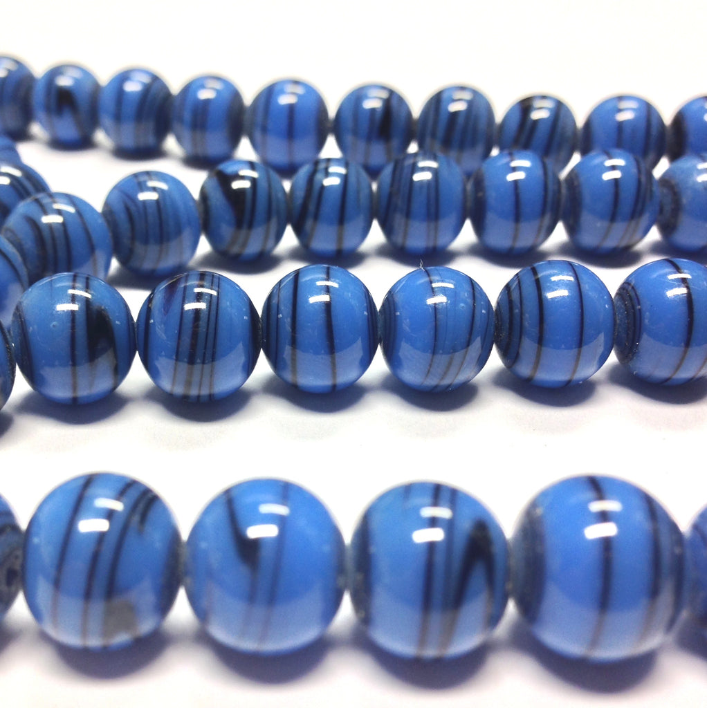 10MM Blue Glass Swirl Beads (100 pieces)