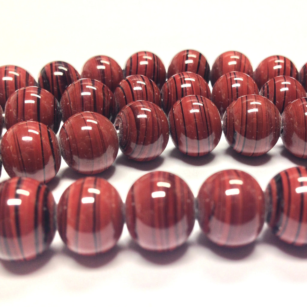 10MM Brown Glass Swirl Beads (100 pieces)