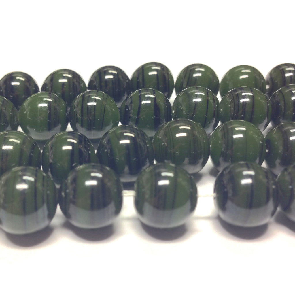 10MM Olive Glass Swirl Beads (100 pieces)