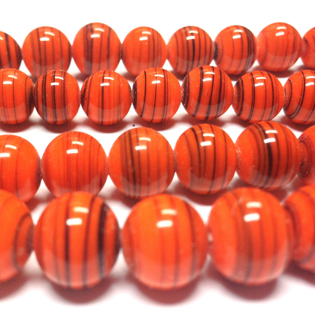 10MM Orange Glass Swirl Beads (100 pieces)
