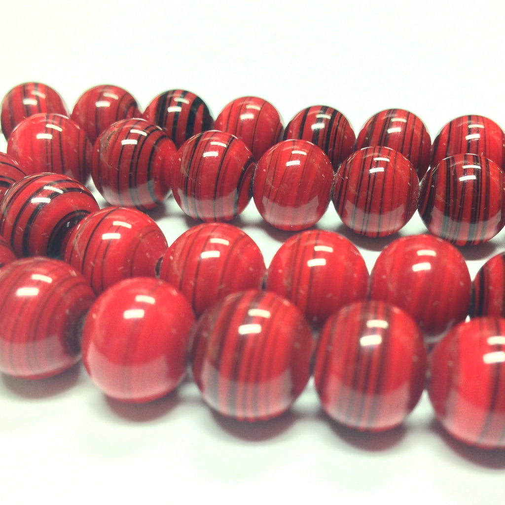 10MM Red Swirl Glass Bead (100 pieces)