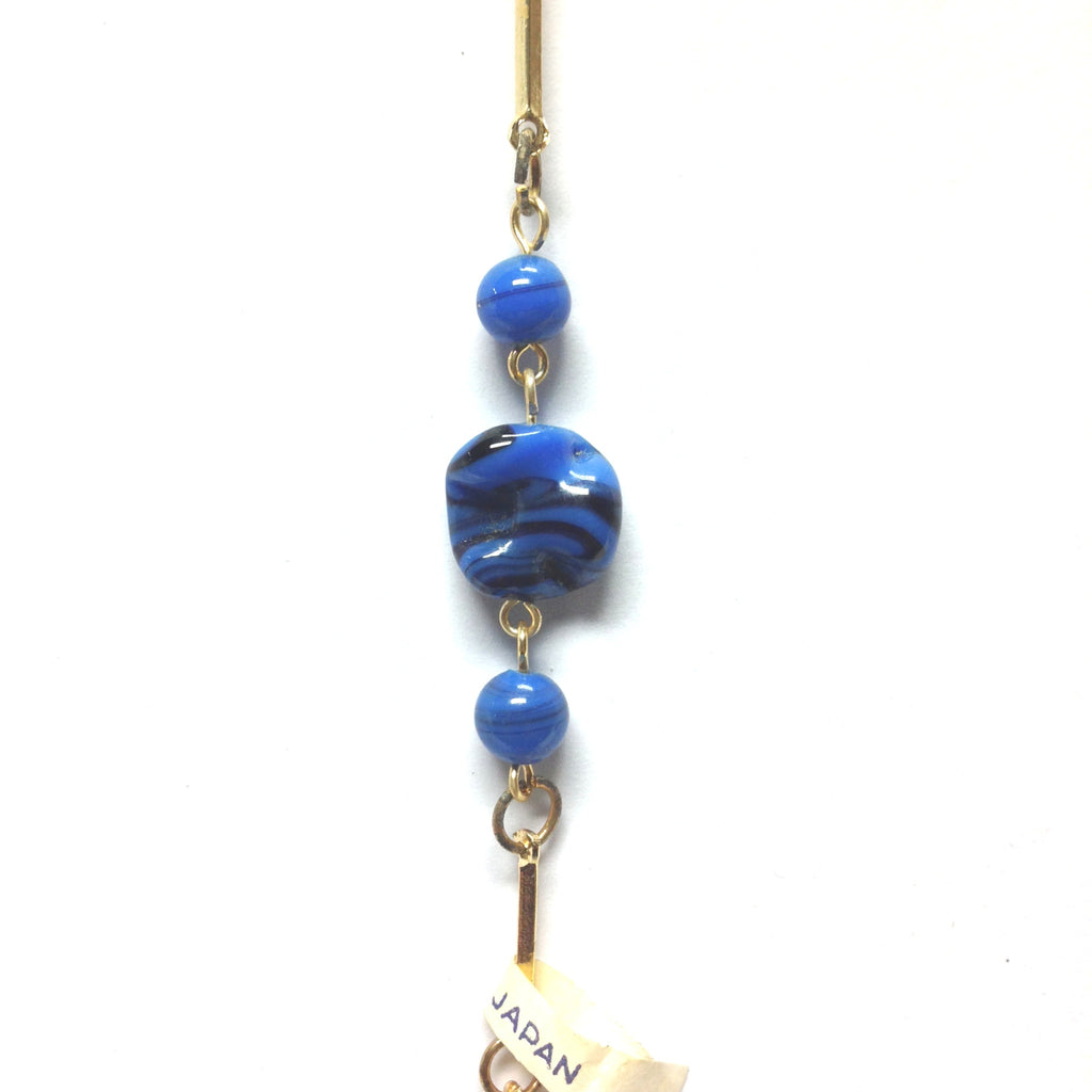 Blue Glass Beads Linked w/Gold Chain (4 Pcs. ~1 Ft Each) (4 pieces)