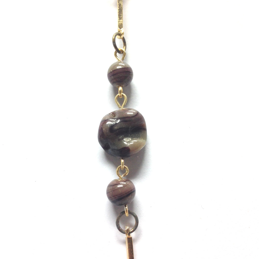 Brown Glass Beads Linked w/Gold Chain (4 Pcs. ~1 Ft Each)   (4 pieces)