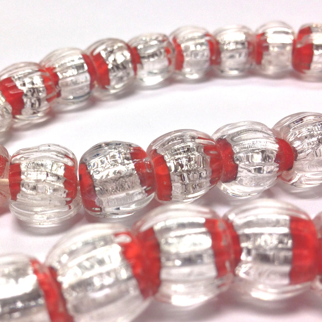 12MM Round Red Bead With Crystal And Foil (24 pieces)