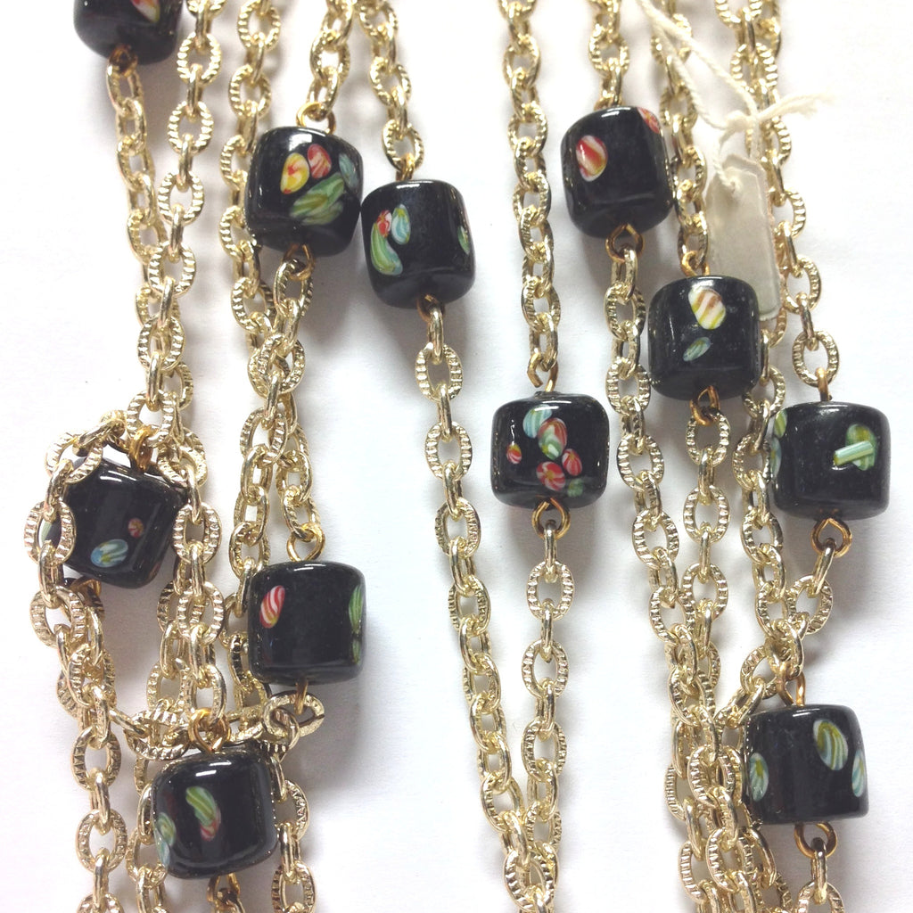 10MM Black Tombo Glass Barrel Goldtone Beadchain (~10 Ft) (1 pieces)