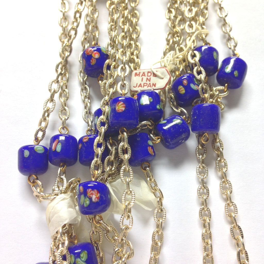 10MM Blue Tombo Glass Barrel Goldtone Beadchain (~10 Ft) (1 pieces)