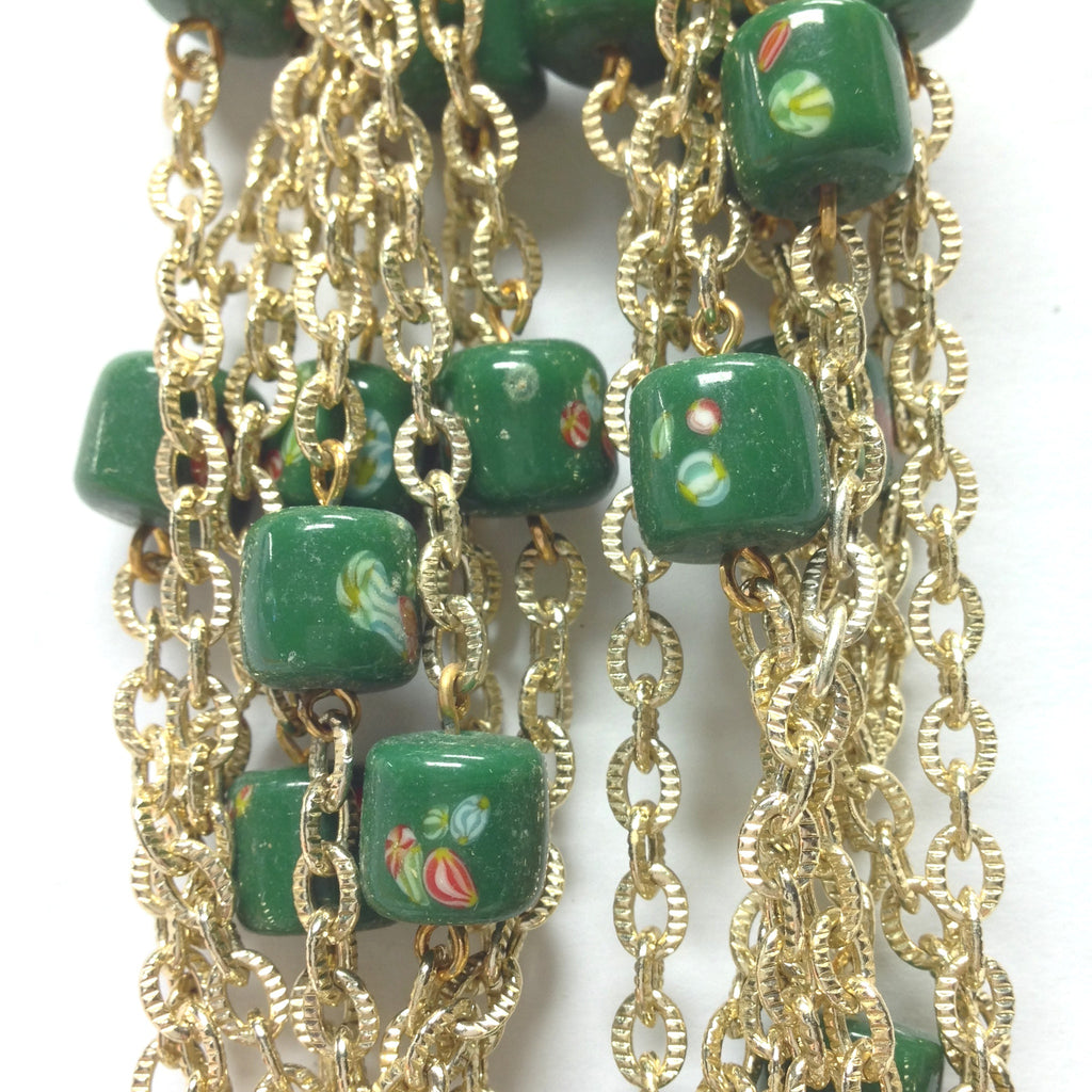 10MM Green Tombo Glass Barrel Goldtone Beadchain (~10 Ft) (1 pieces)