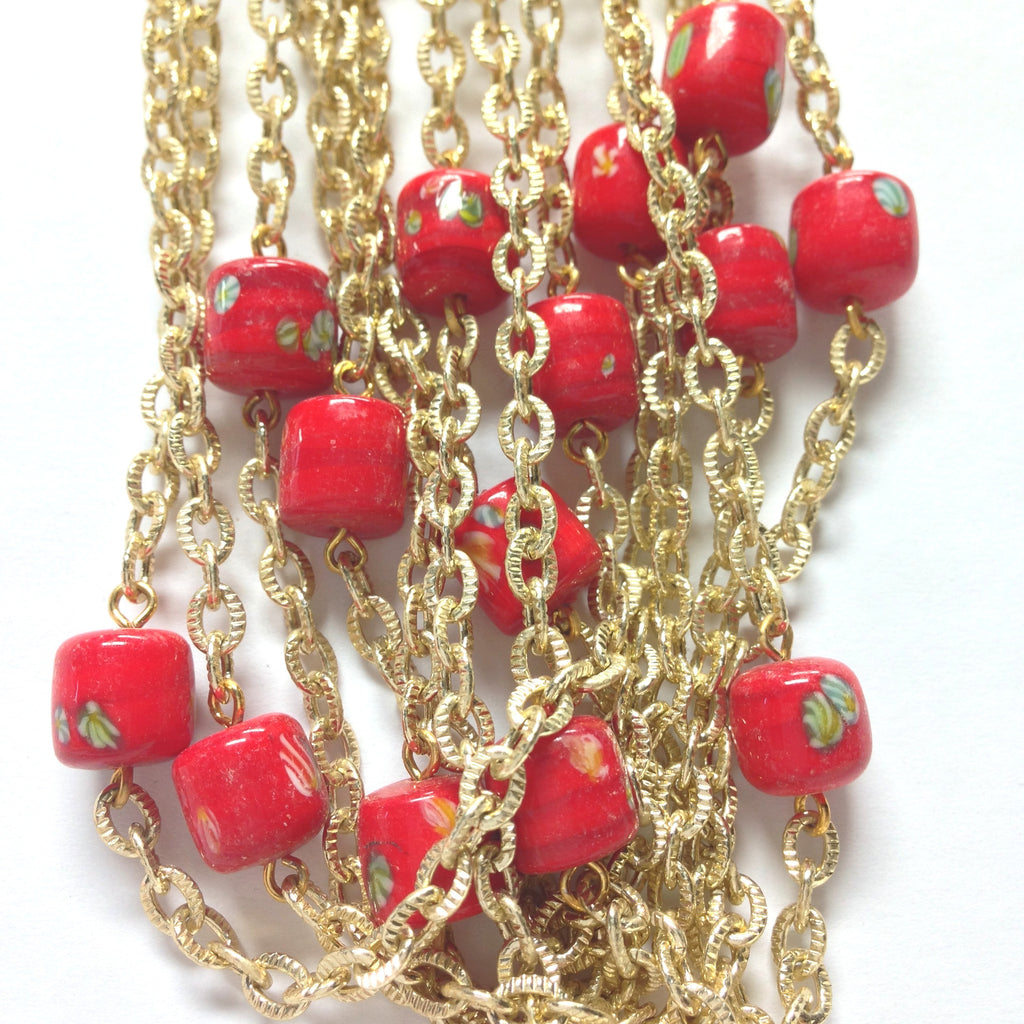 10MM Red Tombo Glass Barrel Goldtone Beadchain (~10 Ft) (1 pieces)