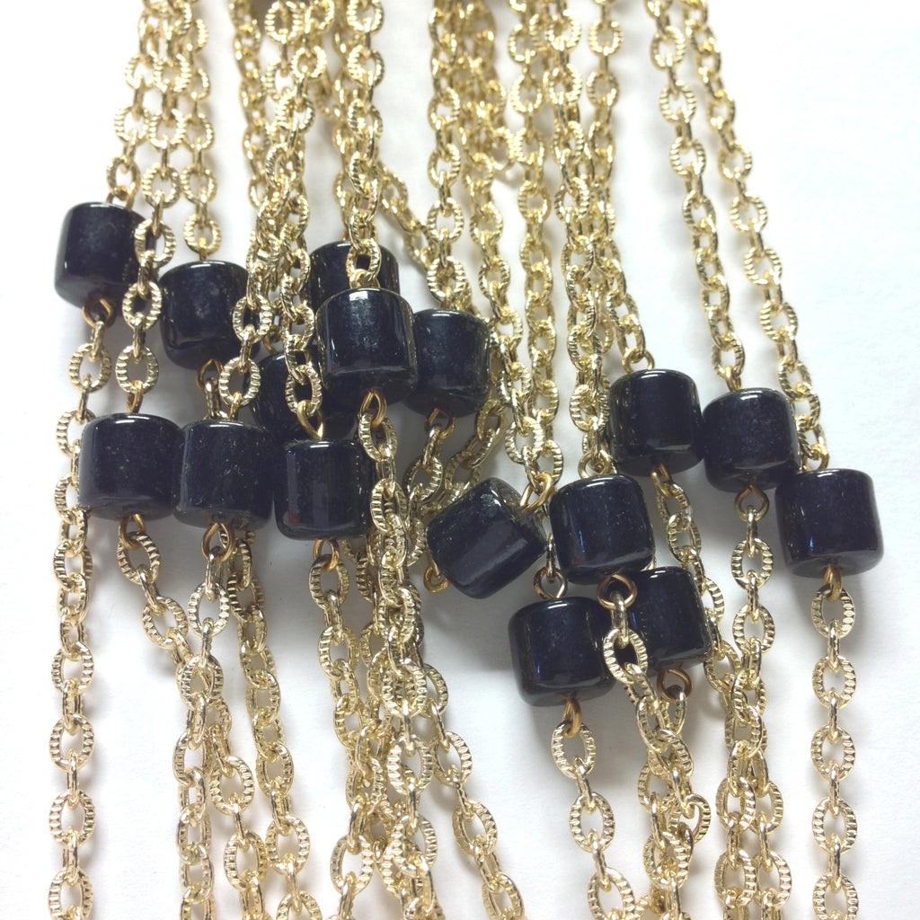 10MM Black Glass Goldtone Beadchain (~10 Ft) (1 pieces)