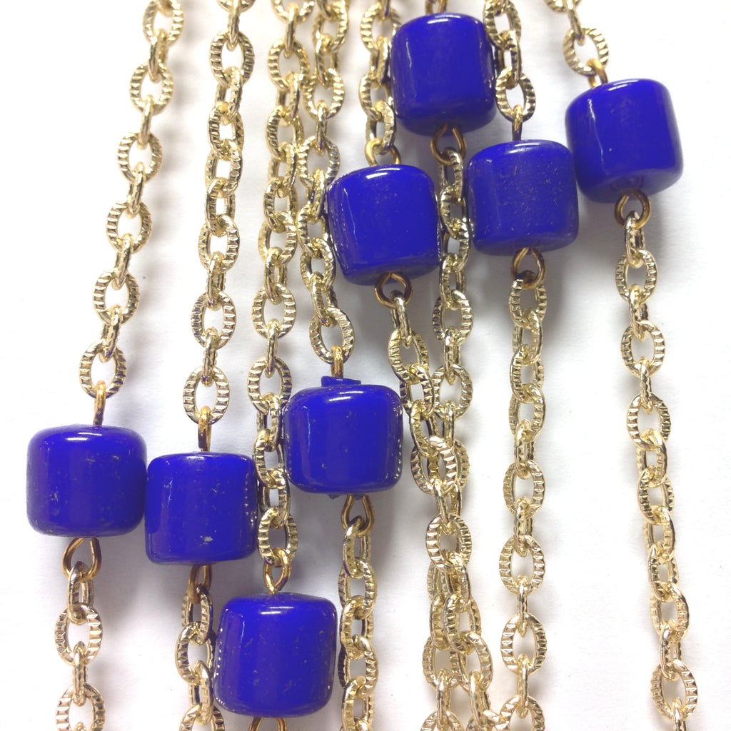 10MM Blue Glass Goldtone Beadchain (~10 Ft) (1 pieces)