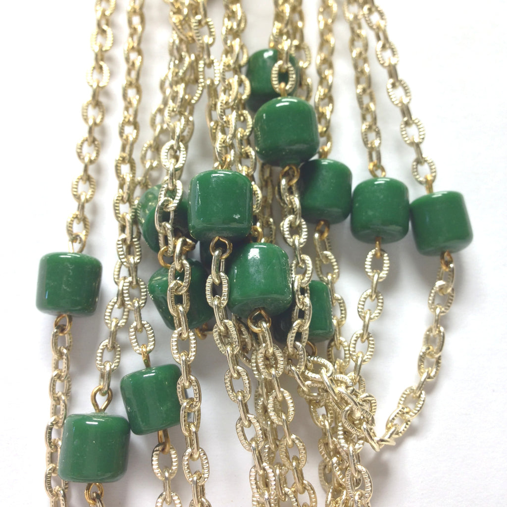 10MM Green Glass Goldtone Beadchain (~10 Ft) (1 pieces)
