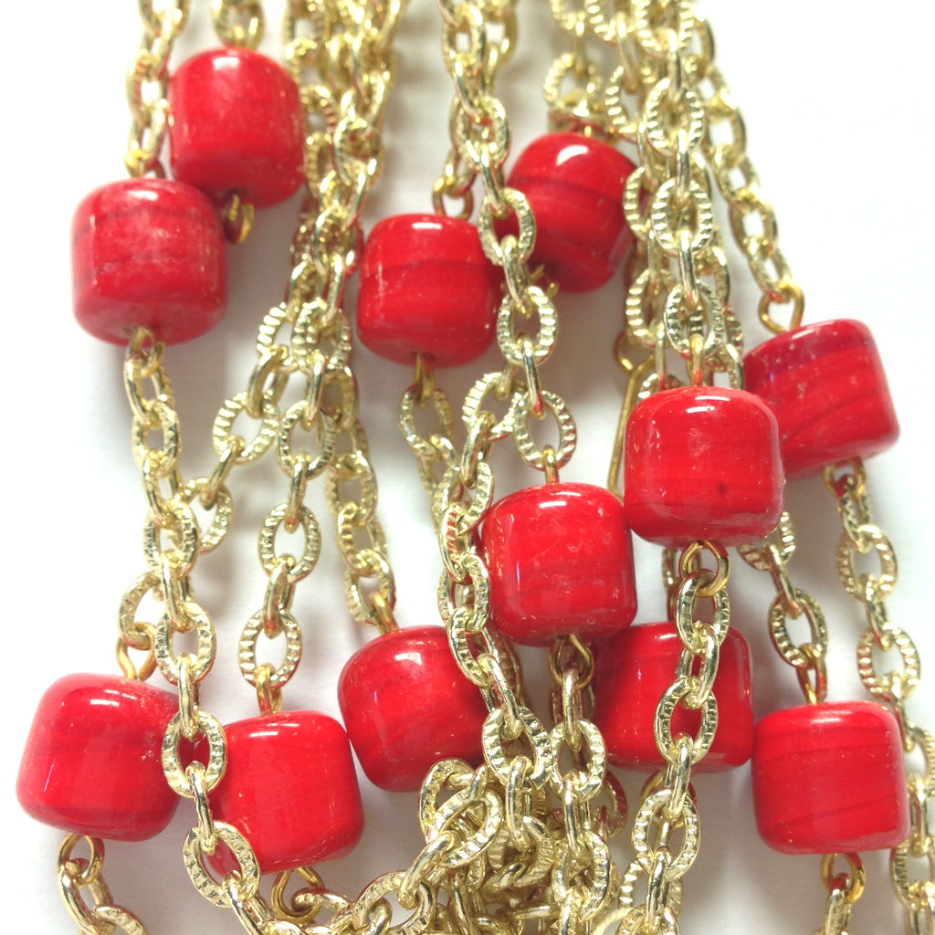 10MM Red Glass Goldtone Beadchain (~10 Ft) (1 pieces)