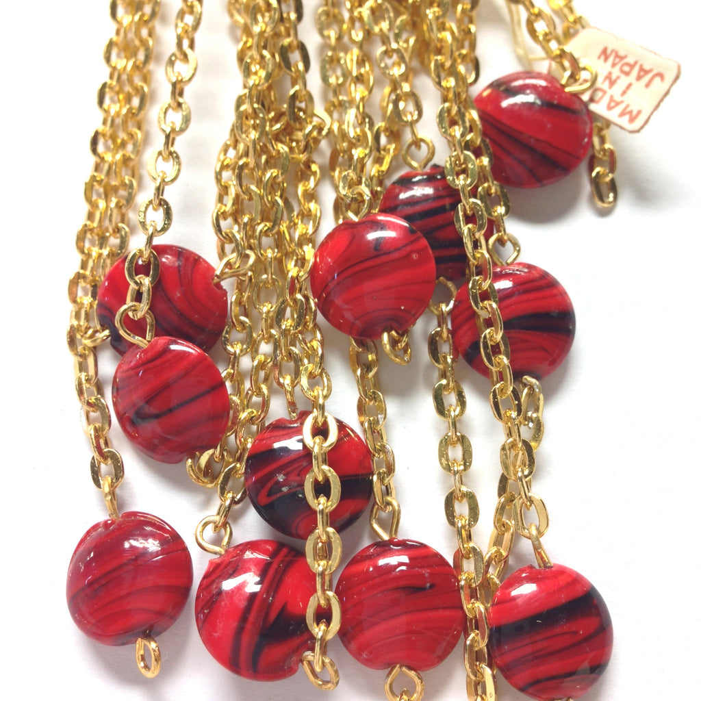 12MM Red Glass Disc Goldtone Beadchain (~10 Ft) (1 pieces)