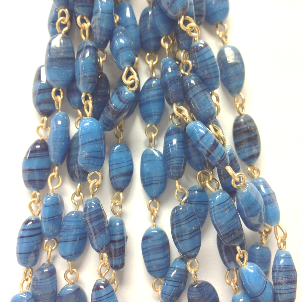 12X6MM Blue Glass Oval Goldtone Beadchain (~10 Ft) (1 pieces)