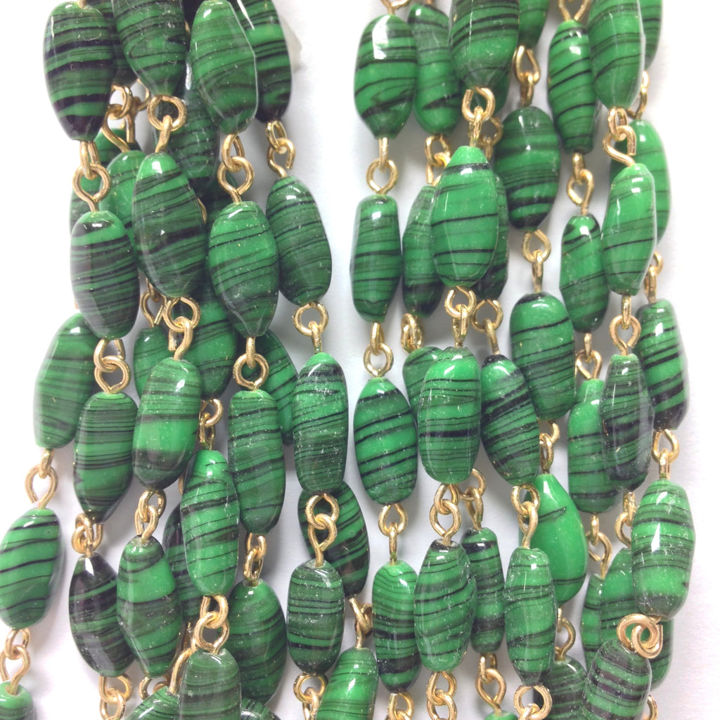 12X6MM Green Glass Oval Goldtone Beadchain (~10 Ft) (1 pieces)