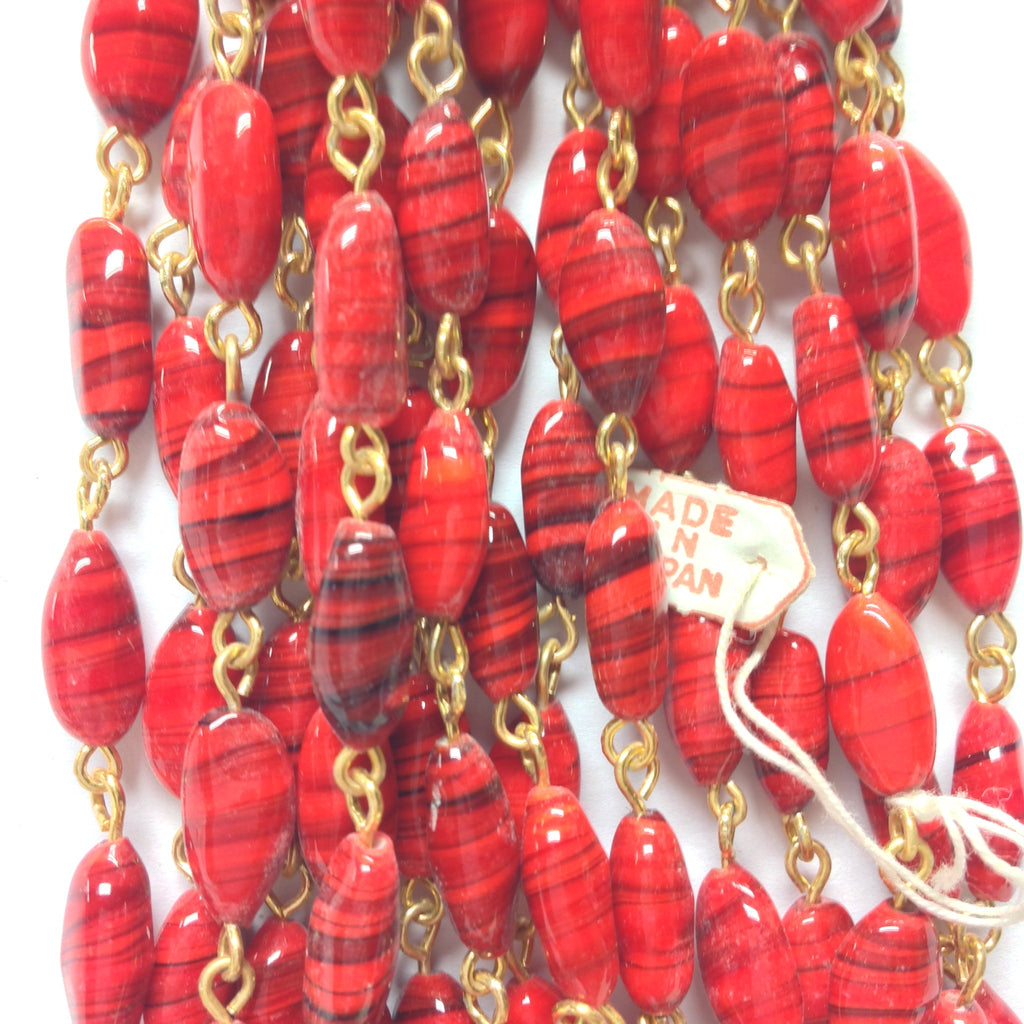 12X6MM Red Glass Oval Goldtone Beadchain (~10 Ft) (1 pieces)