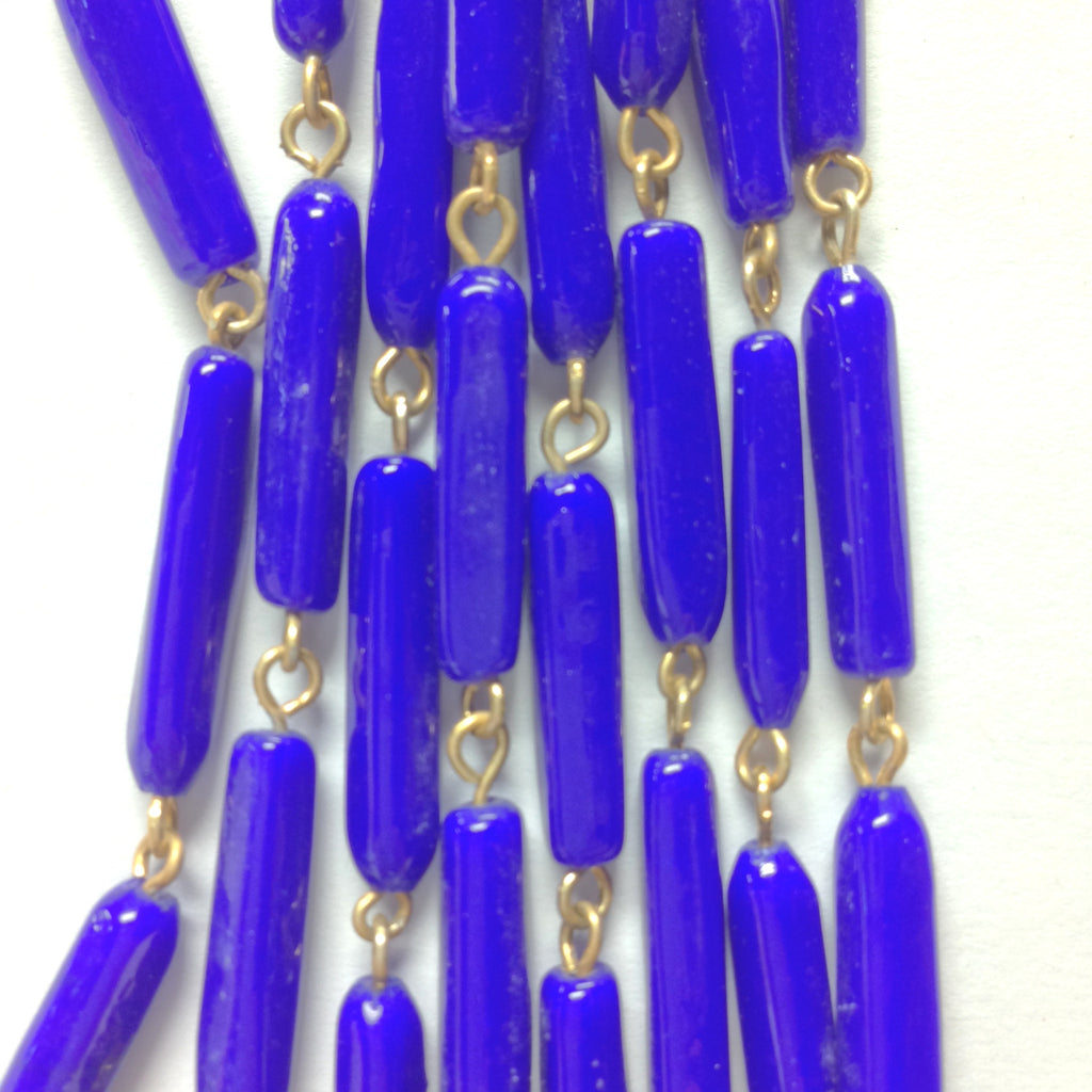 18X5MM Blue Glass Tube Goldtone Beadchain (~10 Ft) (1 pieces)
