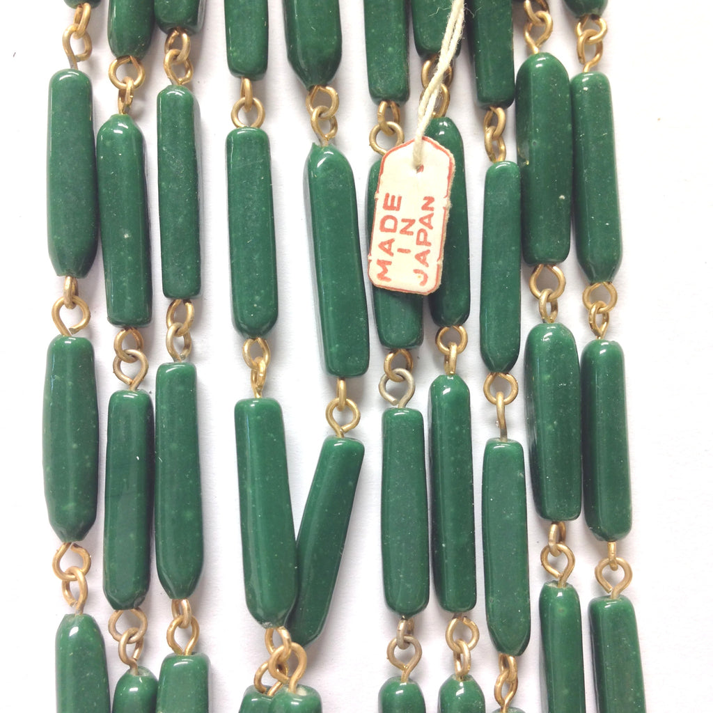 18X5MM Green Glass Tube Goldtone Beadchain (~10 Ft) (1 pieces)
