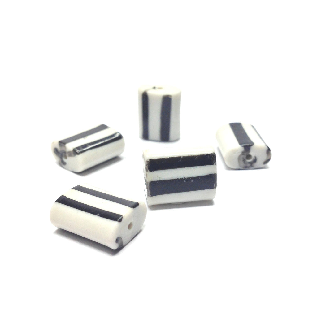 14X11X6MM White Glass Bead w/Black Stripes (72 pieces)