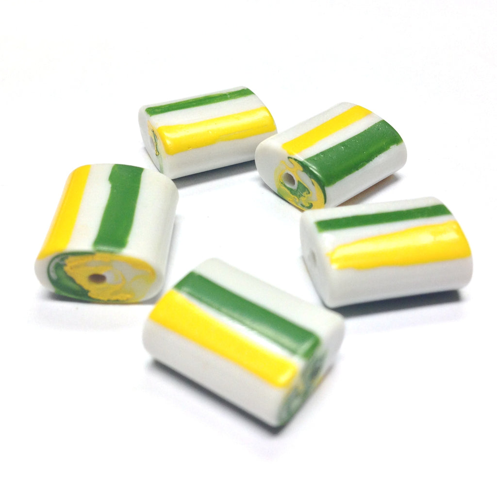 14X11X6MM White Glass Bead w/Green & Yellow Stripes (72 pieces)