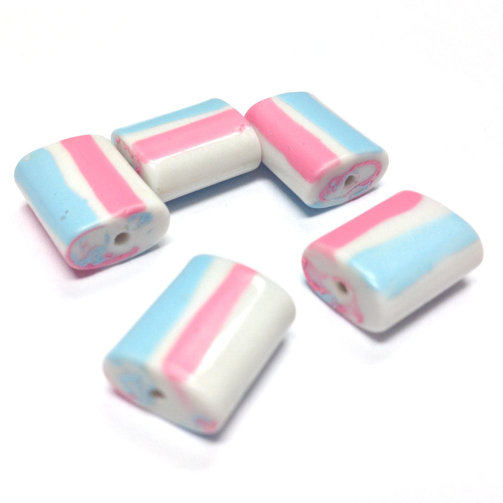 14X11X6MM White Glass Bead w/Pink & Blue Stripes (72 pieces)