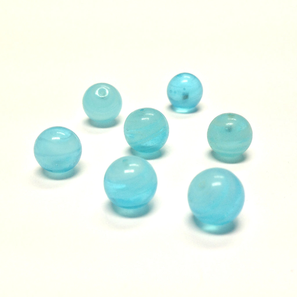 10MM Aqua Swirl Glass Round 1-Hole Ball (36 pieces)