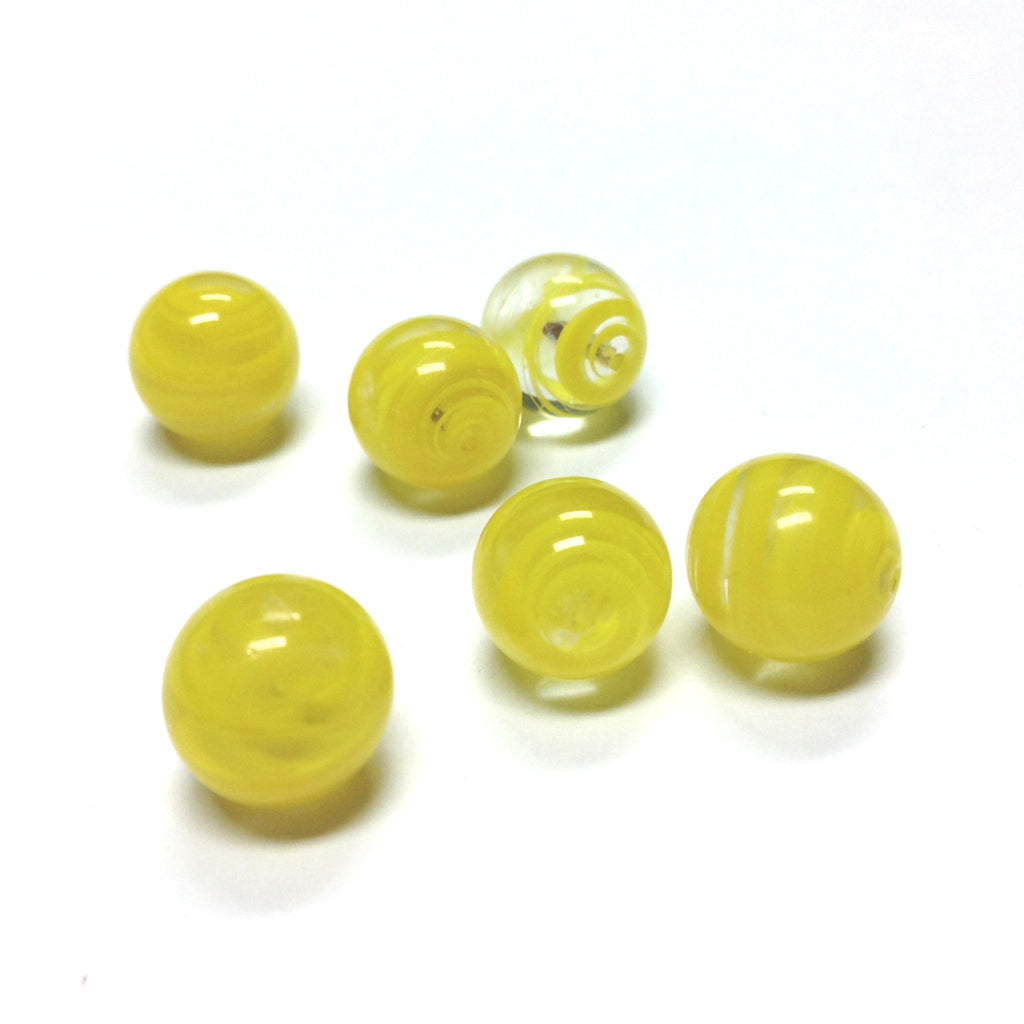 10MM Yellow Swirl Glass Round 1-Hole Ball (36 pieces)