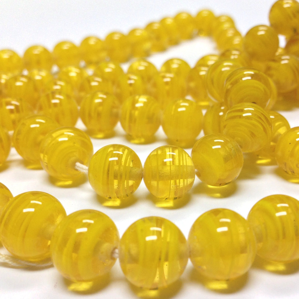 10MM Dark Yellow Swirl Glass Round Bead (36 pieces)